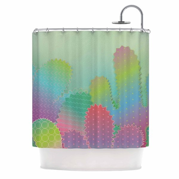 KESS InHouse Graphic Tabby Colorful Cacti Garden Pastel Nature Shower Curtain (69x70)