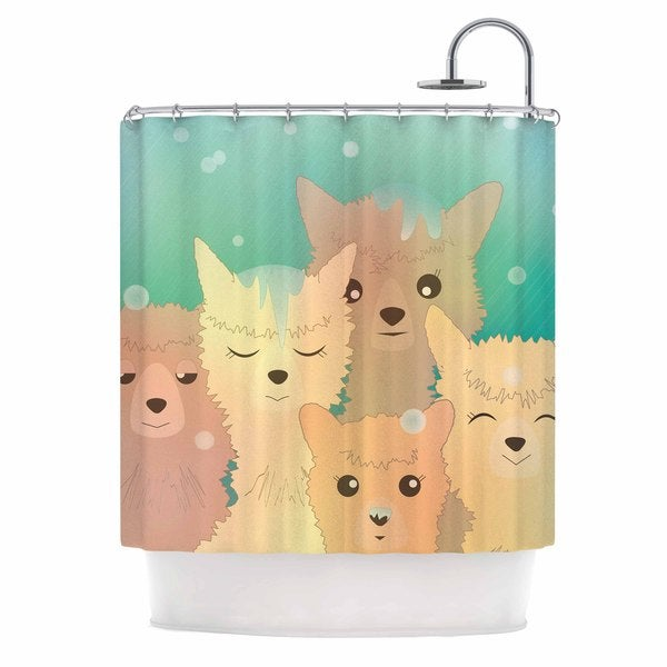 KESS InHouse Graphic Tabby Alpacas In Snow Pastel Animals Shower Curtain (69x70)