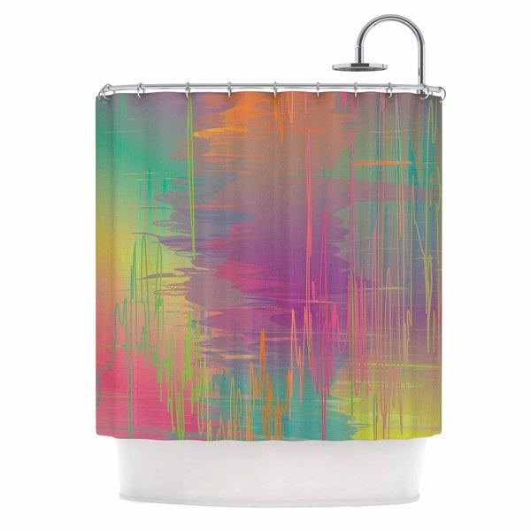 KESS InHouse Graphic Tabby Rainbow Storm Multicolor Abstract Shower Curtain (69x70)