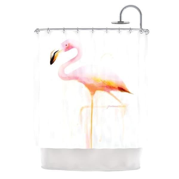 KESS InHouse Geordanna Cordero-Fields My Flamingo Pink White Shower Curtain (69x70)
