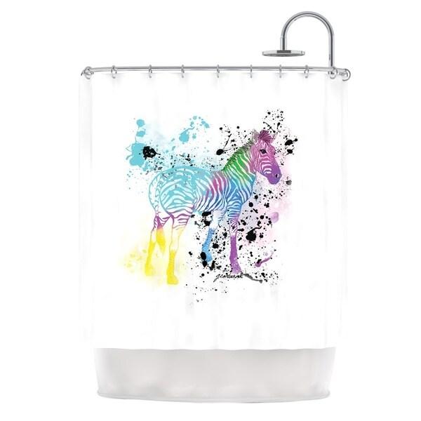 KESS InHouse Geordanna Cordero-Fields My Zebra White Rainbow Shower Curtain (69x70)