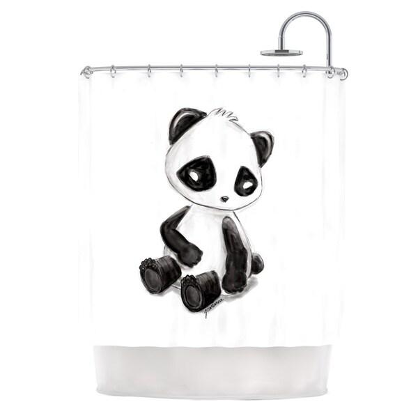 KESS InHouse Geordanna Cordero-Fields My Panda Sketch Black White Shower Curtain (69x70)