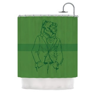 KESS InHouse Geordanna Cordero-Fields Dapper Bear Green Emerald Animal Shower Curtain (69x70)