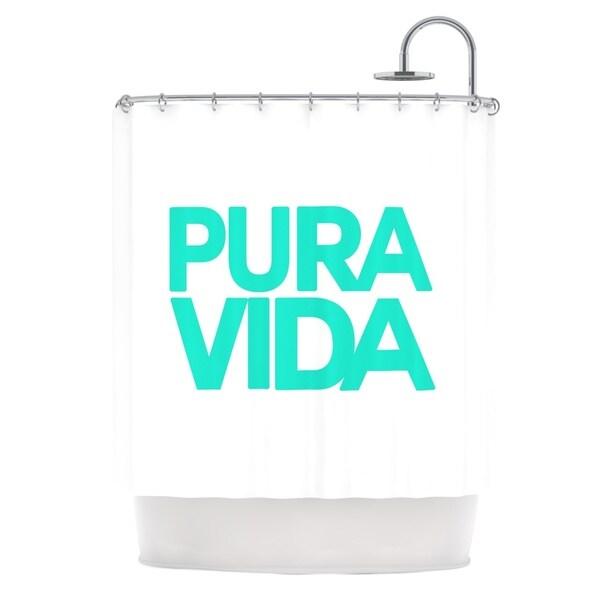 KESS InHouse Geordanna Cordero-Fields Turquoise Pura Vida Blue White Shower Curtain (69x70)