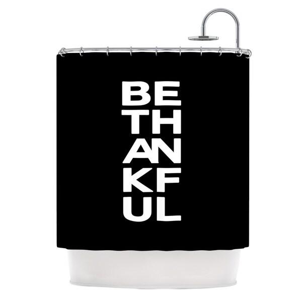 KESS InHouse Geordanna Cordero-Fields Be Thankful White Black Shower Curtain (69x70)