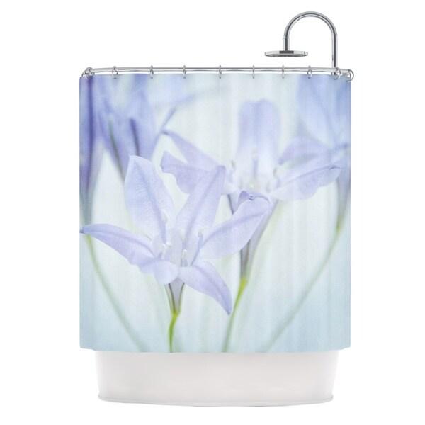KESS InHouse Iris Lehnhardt Triplet Lily Flower Blue Shower Curtain (69x70)