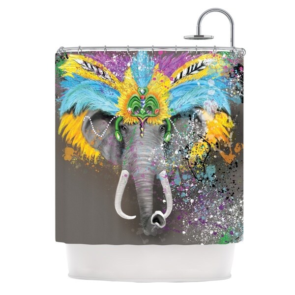KESS InHouse Geordanna Cordero-Fields My Elephant with Headdress Gray Rainbow Shower Curtain (69x70)