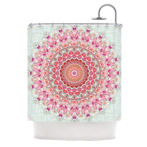 KESS InHouse Iris Lehnhardt Summer Lace III Circle Pink Green Shower Curtain (69x70)