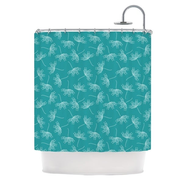 KESS InHouse Emma Frances Windswept Teal White Shower Curtain (69x70)