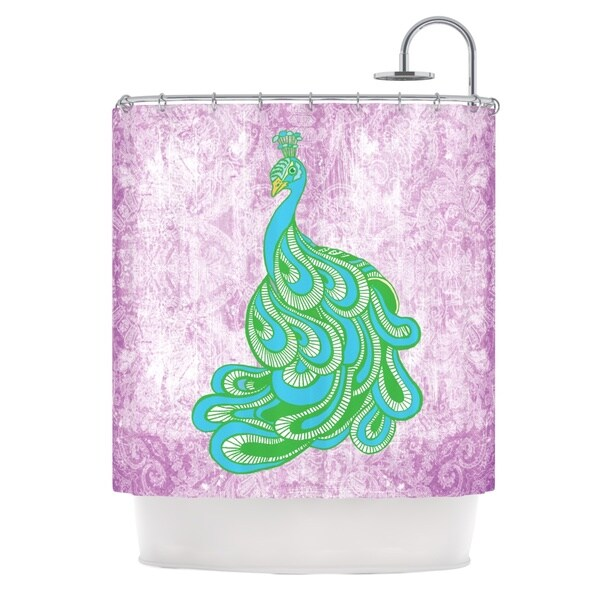 KESS InHouse Geordanna Cordero-Fields Beauty in Waiting Green Pink Shower Curtain (69x70)
