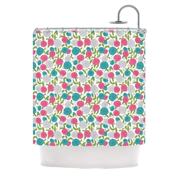 KESS InHouse Emma Frances Vintage Brights Teal Pink Shower Curtain (69x70)