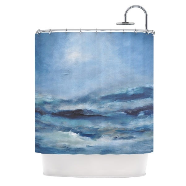 KESS InHouse Iris Lehnhardt Rough Sea Ocean Blue Shower Curtain (69x70)
