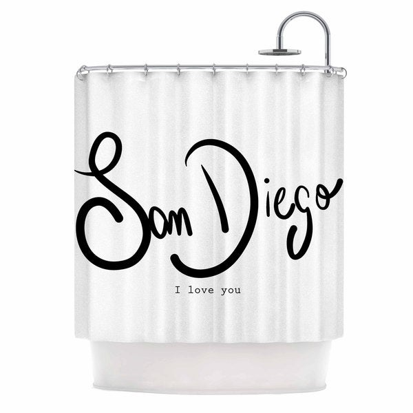 KESS InHouse Gabriela Fuente 'San Diego I Love You' Travel Typography Shower Curtain