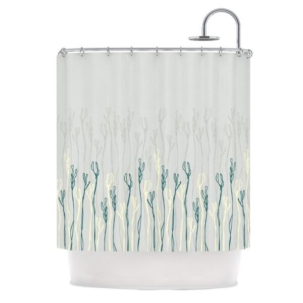 KESS InHouse Emma Frances Dainty Shoots Gray Teal Shower Curtain 69x70
