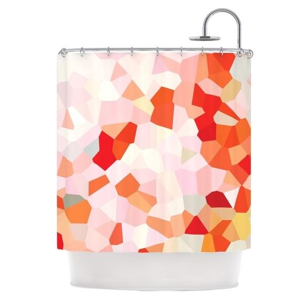 KESS InHouse Iris Lehnhardt Oooh La La Orange Pixel Multicolored Shower Curtain