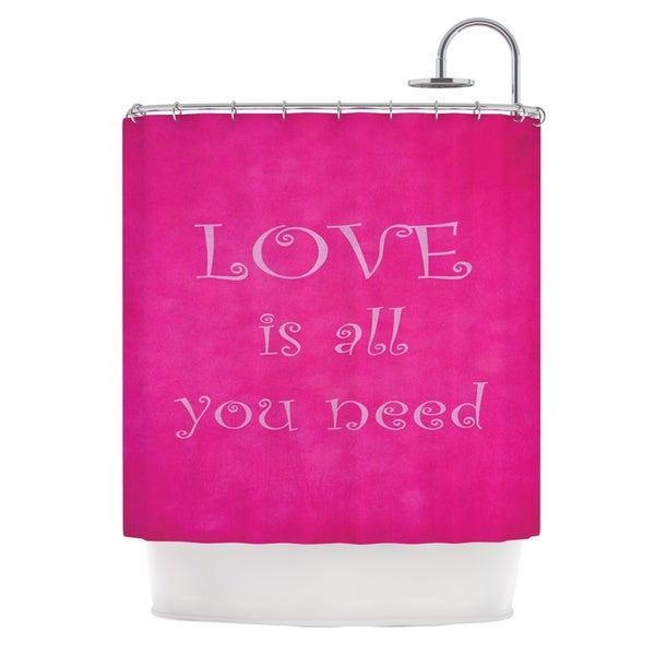 KESS InHouse Iris Lehnhardt Love is all you need Quote Pink Shower Curtain (69x70)