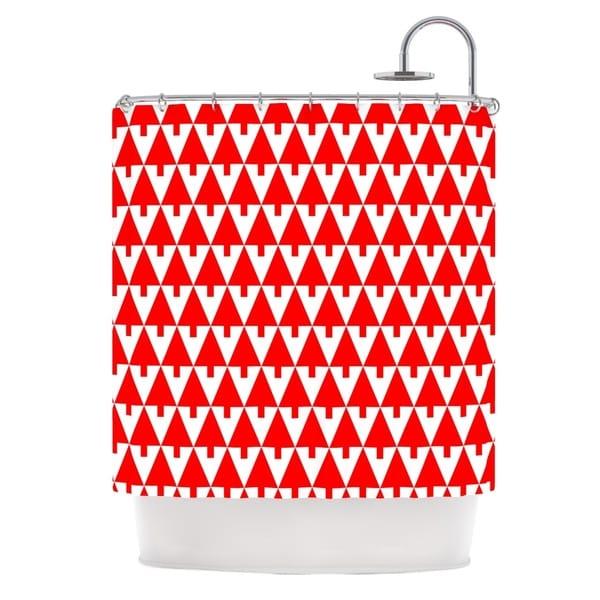 KESS InHouse Gabriela Fuente Happy X-Mas Red Geometric Illustration Shower Curtain (69x70)