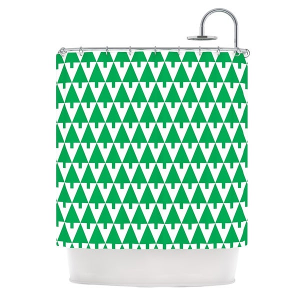 KESS InHouse Gabriela Fuente Happy X-Mas Green Illustration Geometric Shower Curtain (69x70)