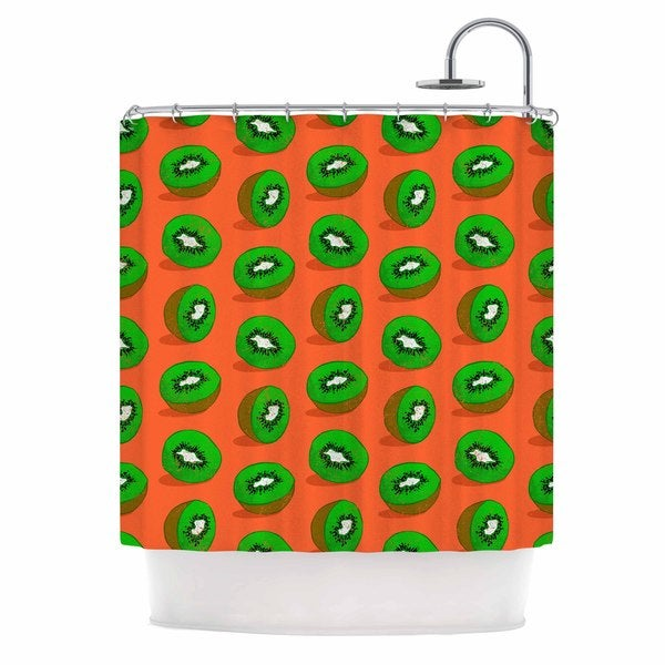 KESS InHouse Evgenia Kiwifruit Orange Green Shower Curtain (69x70)
