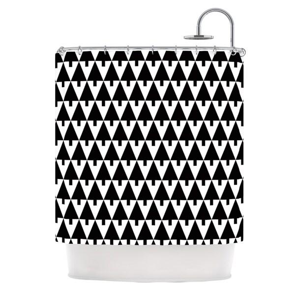 KESS InHouse Gabriela Fuente Happy X-Mas Black & White Geometric Monotone Shower Curtain (69x70)