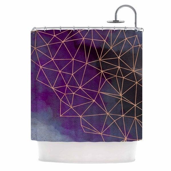 KESS InHouse Cafelab Watercolor Storm Purple Gold Shower Curtain (69x70)
