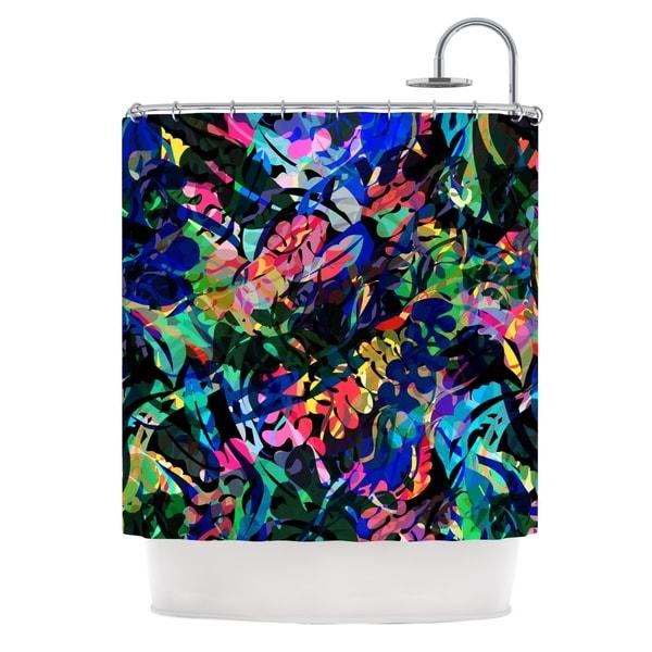 KESS InHouse Gabriela Fuente Flora Splash Dark Rainbow Shower Curtain (69x70)