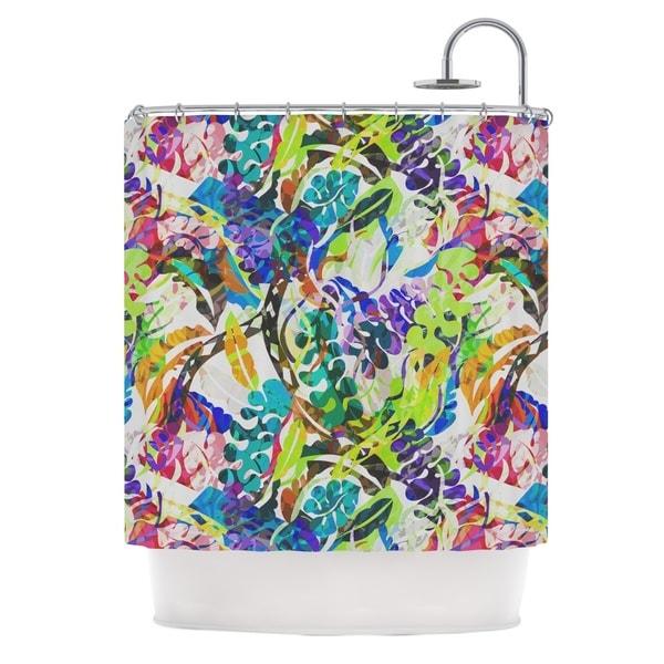 KESS InHouse Gabriela Fuente Flow Rainbow Floral Shower Curtain (69x70)