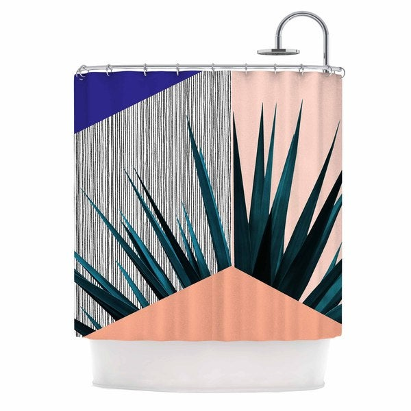 KESS InHouse Cafelab Summer Geometry  Blue Coral Shower Curtain (69x70)