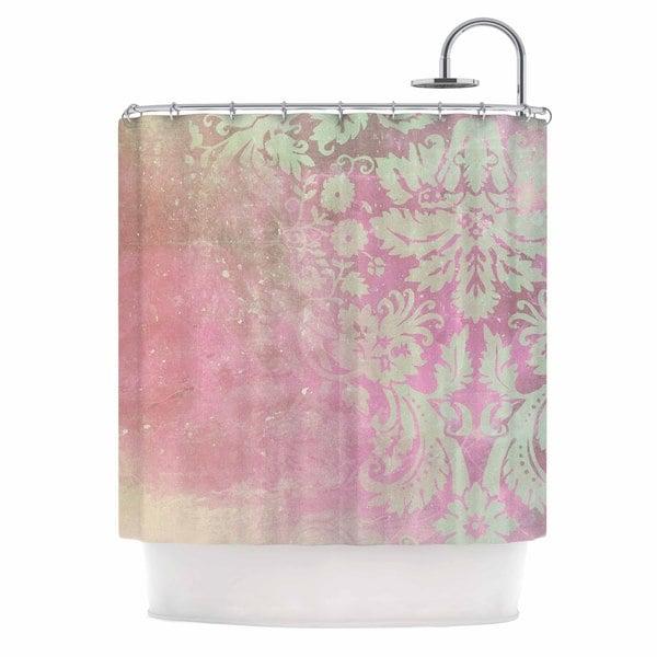 KESS InHouse Cafelab Spring Damask  Pink White Shower Curtain (69x70)