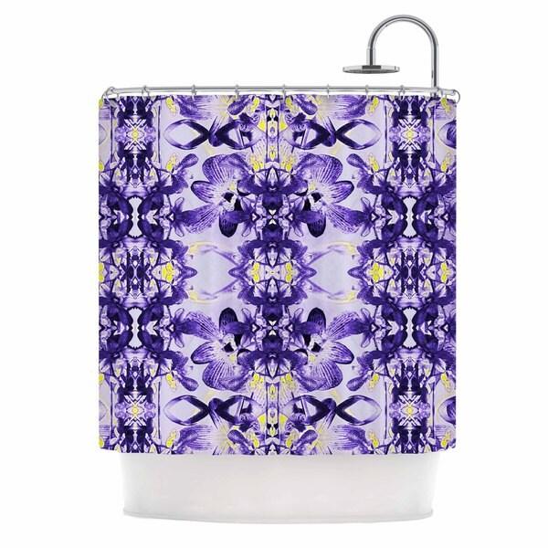 KESS InHouse Dawid Roc Tropical Orchid Dark Floral 2 Purple Lavender Shower Curtain (69x70)