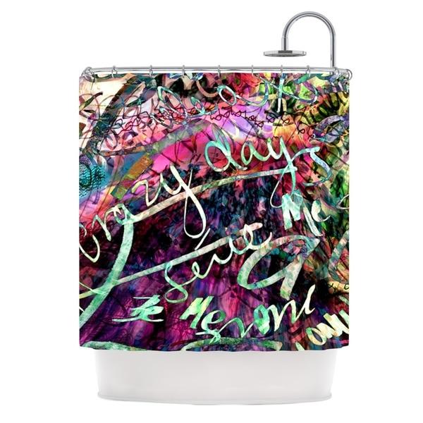 KESS InHouse Gabriela Fuente Crazy Day Rainbow Abstract Shower Curtain (69x70)