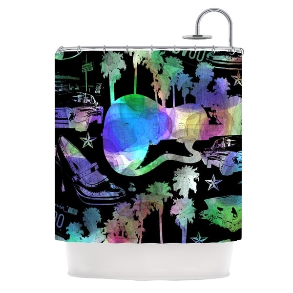 KESS InHouse Gabriela Fuente California Dream Rainbow Abstract Shower Curtain (69x70)