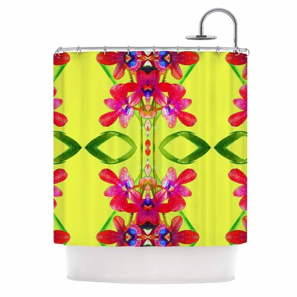 """KESS InHouse Dawid Roc """"Tropical Floral Orchids 1 """" Yellow Red Shower Curtain (69x70) - 69 x 70"""