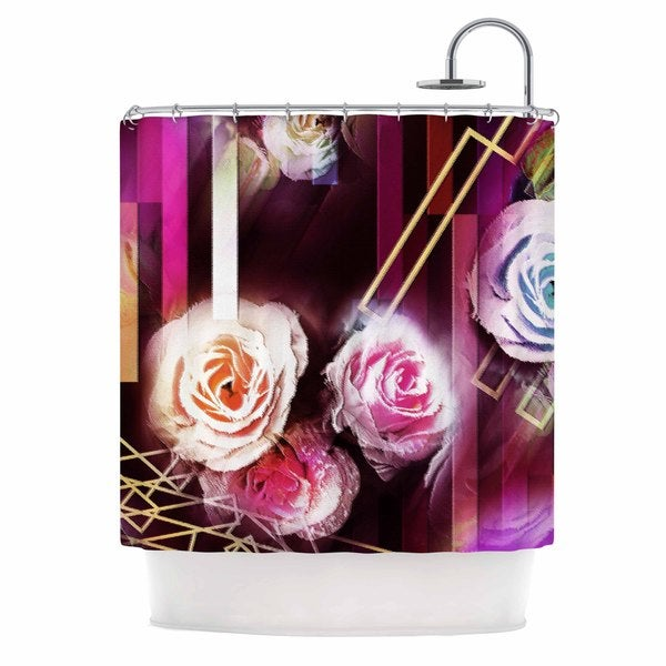 KESS InHouse Dawid Roc Roses-Floral Geometric Stripes  Pink Blue Shower Curtain (69x70)