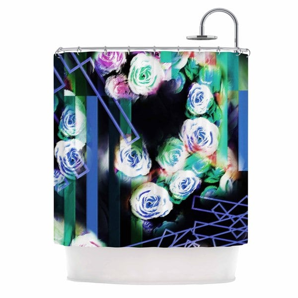 KESS InHouse Dawid Roc Cool Roses-Floral Stripes Blue Green Shower Curtain (69x70)