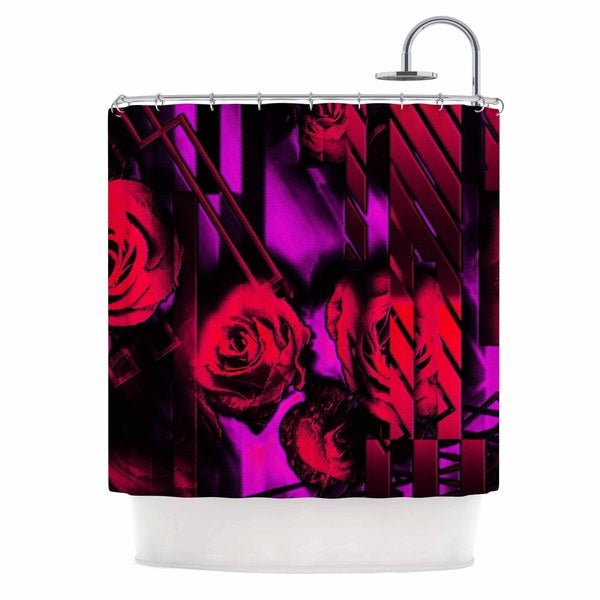 KESS InHouse Dawid Roc Red Roses-Flower Geometric Pink Black Shower Curtain (69x70)
