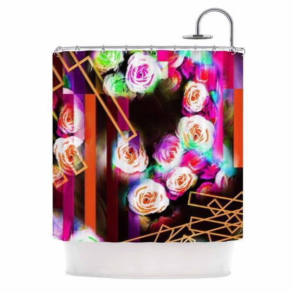 KESS InHouse Dawid Roc Colorful Rose-Floral Geometric Multicolor Pink Shower Curtain (69x70)