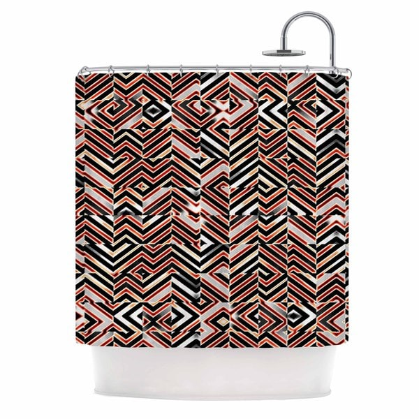 "KESS InHouse Dawis Roc ""Maze Geometric Abstract 1 "" Orange Black Shower Curtain (69x70) - 69 x 70"