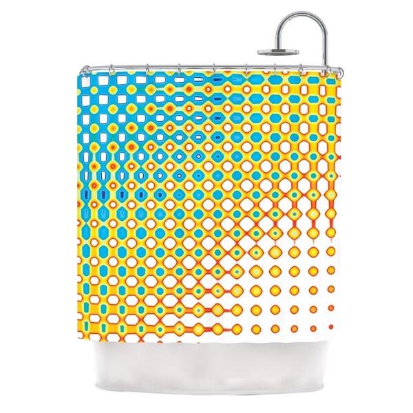 KESS InHouse Dawid Roc Psychedelic Art Yellow Blue Shower Curtain (69x70)