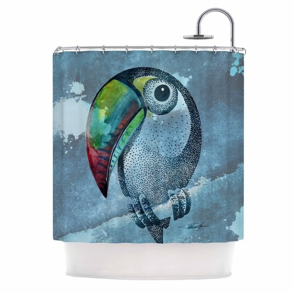 KESS InHouse Ivan Joh Tucan Blue Pastel Shower Curtain (69x70)