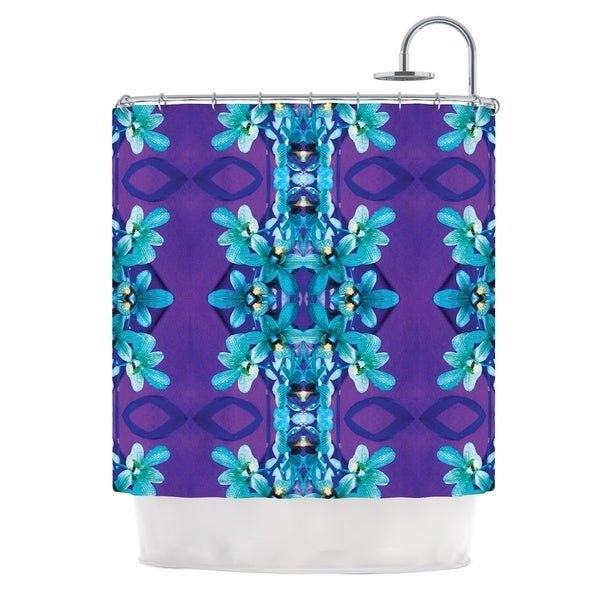 KESS InHouse Dawid Roc Blue Orchids Teal Floral Shower Curtain (69x70)