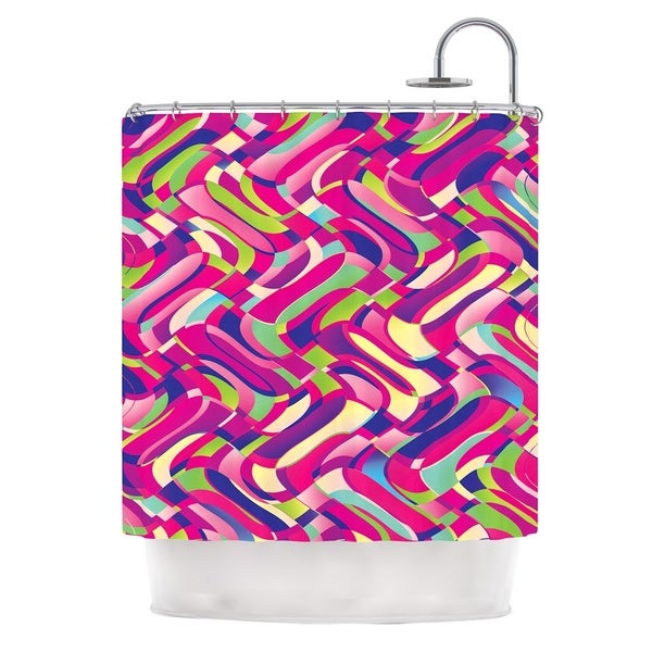 KESS InHouse Dawid Roc Colorful Movement Pink Abstract Shower Curtain (69x70)