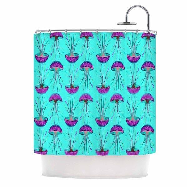 KESS InHouse Ivan Joh Turquoise Dance Teal Purple Shower Curtain 69x70