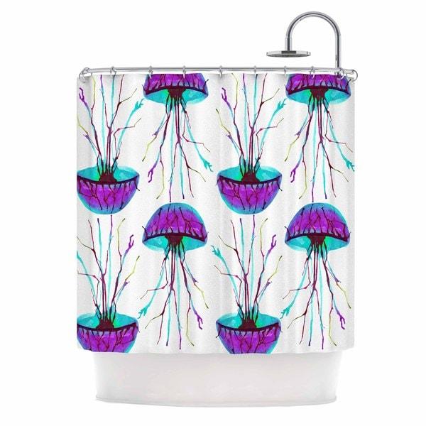 KESS InHouse Ivan Joh Jellyfish Purple Aqua Shower Curtain (69x70)
