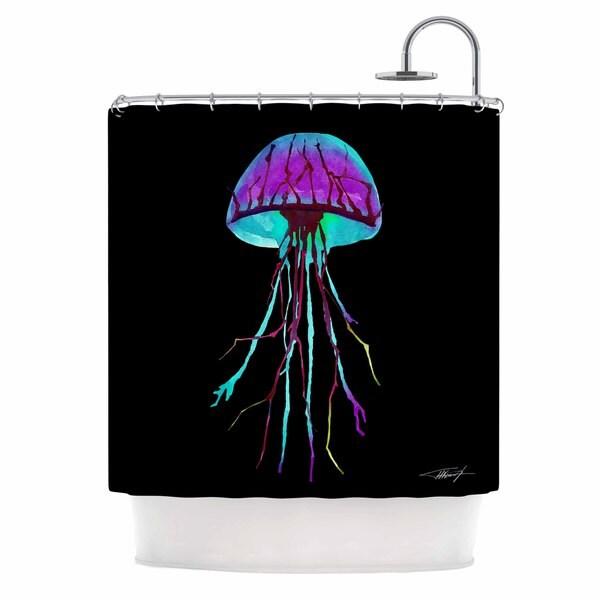 KESS InHouse Ivan Joh Night Of Jellyfish Black Purple Shower Curtain (69x70)