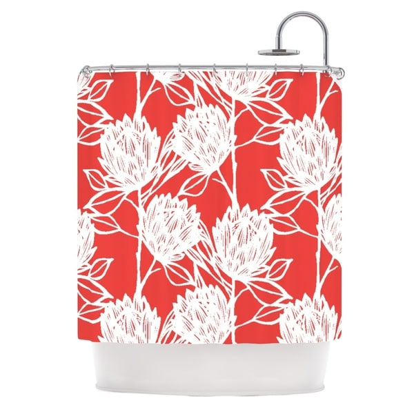 KESS InHouse Gill Eggleston Protea Strawberry White Red Flowers Shower Curtain (69x70)