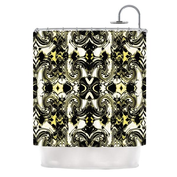 KESS InHouse Dawid Roc The Palace Walls II Yellow Black Shower Curtain (69x70)