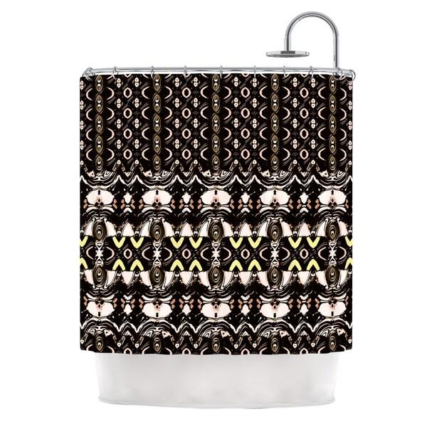 KESS InHouse Dawid Roc The Palace Walls Brown Black Shower Curtain (69x70)