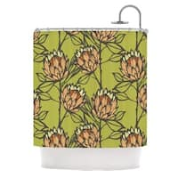 KESS InHouse Gill Eggleston Protea Olive Green Orange Shower Curtain (69x70)