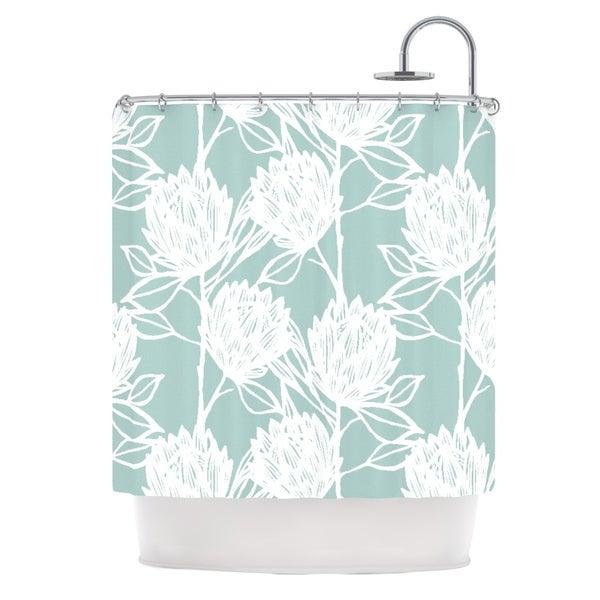 KESS InHouse Gill Eggleston Protea Jade White Blue Flowers Shower Curtain (69x70)